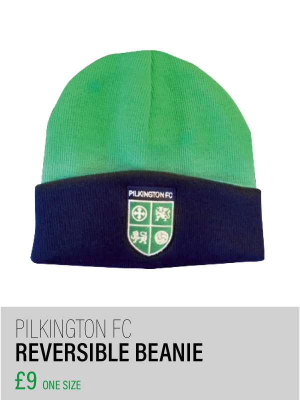 Green and blue reversible beanie hat
