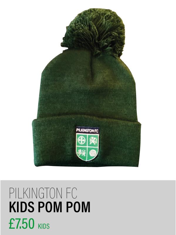 Kids dark green pom pom hat